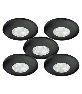 Set van 5 Cabinet Led Inbouwspots warm wit, zwarte uitvoering IP44, dimbaar