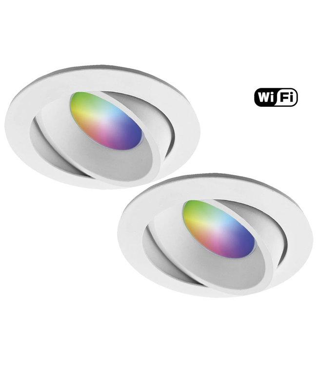 4Lite Set van 2 stuks Witte Wifi. RGB en dimtone spots, 5,5 W. Dimbaar via app
