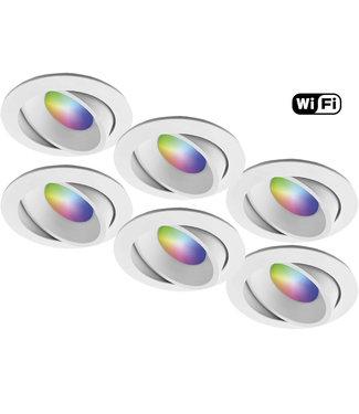 4Lite Set van 6 stuks Witte Wifi. RGB en dimtone spots, 5,5 W. Dimbaar via app