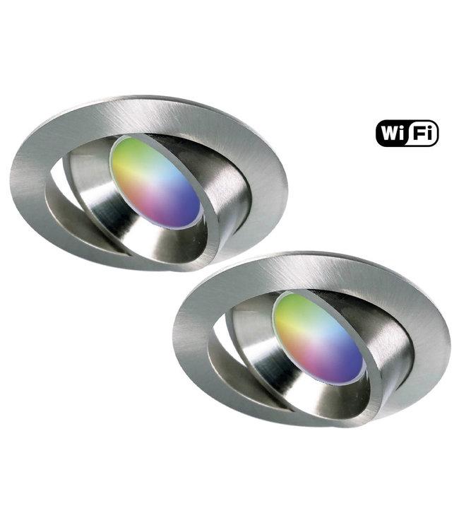 4Lite Set van 2 stuks RVS Wifi. RGB en dimtone spots, 5,5 W. Dimbaar via app