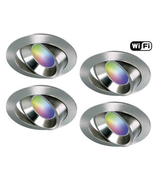 4Lite Set van 4 stuks RVS Wifi. RGB en dimtone spots, 5,5 W. Dimbaar via app