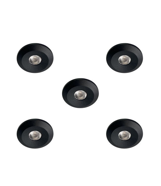Set van 5 Microledjes Maduro, dimbaar, 1,2 Watt, Zwart IP44