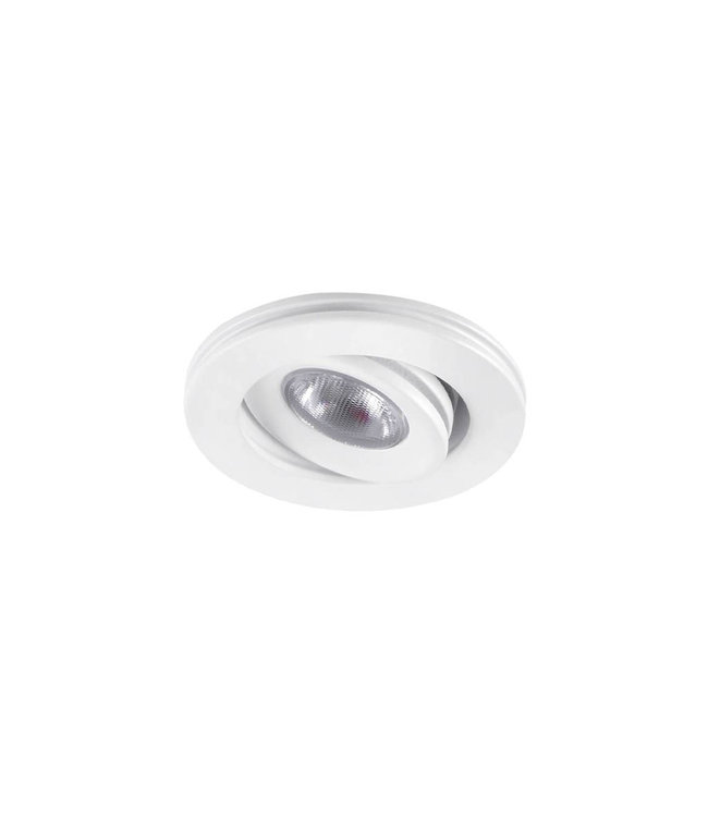 Dimbare mini inbouwLEDspot, warm wit, 1x3W Kantelbaar IP44 WIT