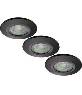 Set van 3 stuks Badkamer LEDspot Venetië 6 Watt, IP65 Dimbaar, zwarte uitvoering, Warm wit licht