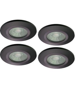 Set van 4 stuks Badkamer LEDspot Venetië 6 Watt, IP65 Dimbaar, zwarte uitvoering, Warm wit licht