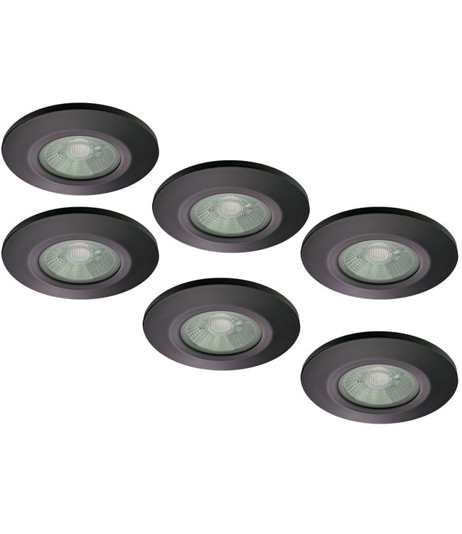 Set van 6 stuks Badkamer LEDspot Venetië 6 Watt, IP65 Dimbaar, zwarte uitvoering, Warm wit licht
