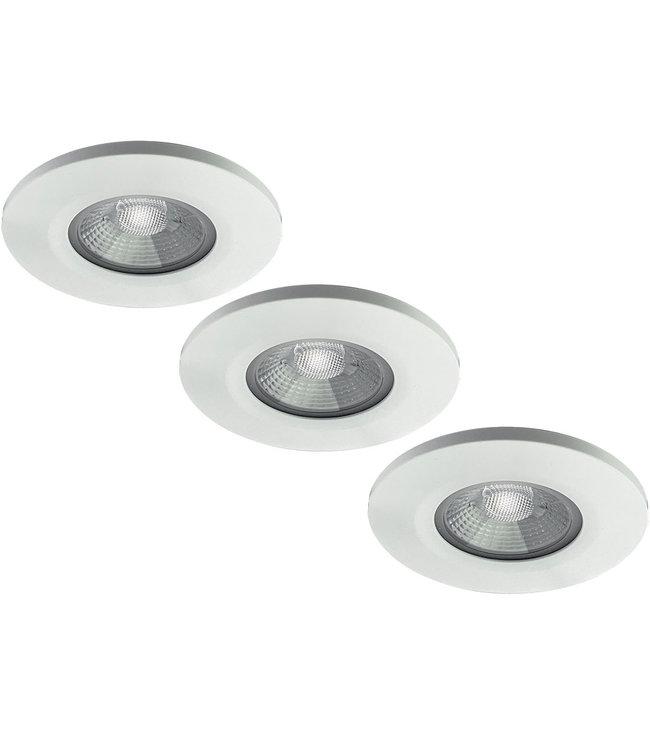 Set van 3 stuks badkamer LEDspot Venetië 6 Watt, IP65 Dimbaar, Witte uitvoering, Warm wit licht