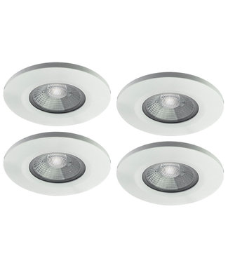Set van 4 stuks badkamer LEDspot Venetië 6 Watt, IP65 Dimbaar, Witte uitvoering, Warm wit licht