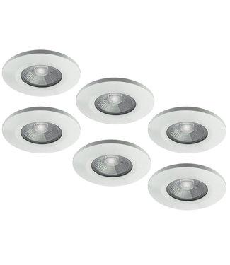 Set van 6 stuks badkamer LEDspot Venetië 6 Watt, IP65 Dimbaar, Witte uitvoering, Warm wit licht