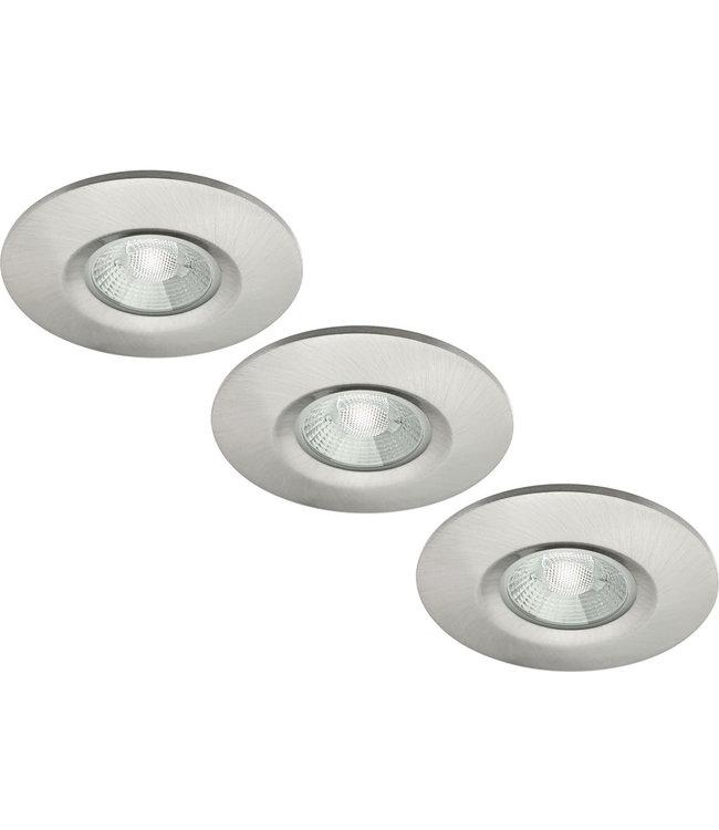 Set van 3 stuks badkamer LEDspot Venetië 6 Watt, IP65 Dimbaar, rvs uitvoering, Warm wit licht
