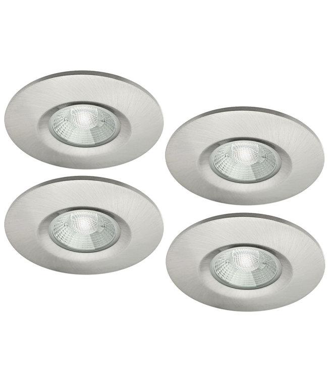 Set van 4 stuks badkamer LEDspot Venetië 6 Watt, IP65 Dimbaar, rvs uitvoering, Warm wit licht