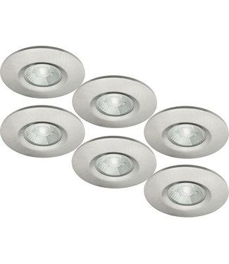 Set van 6 stuks badkamer LEDspot Venetië 6 Watt, IP65 Dimbaar, rvs uitvoering, Warm wit licht