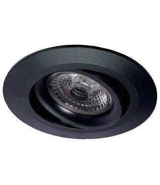 Inbouw LEDspot Parijs, Warm wit licht, dimbaar, 8 Watt, kantelbaar, Zwart