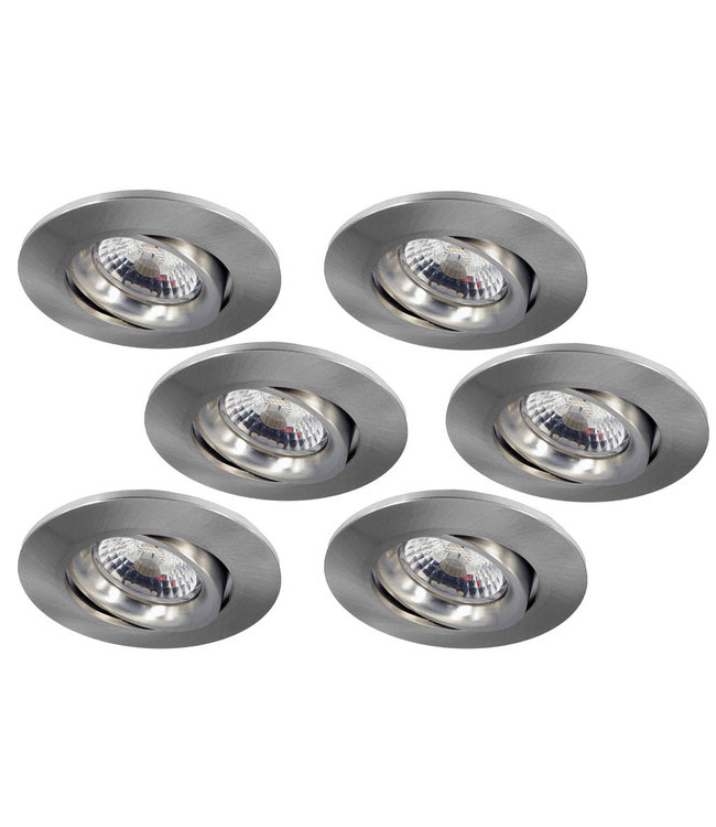 Set van 6 stuks Inbouw LEDspot Parijs, Warm wit licht, dimbaar, 8 Watt, kantelbaar, RVS