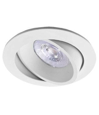 Luxna Witte LED inbouwspot BRUGGE 5W dimbaar, kantelbaar, warmwit licht.