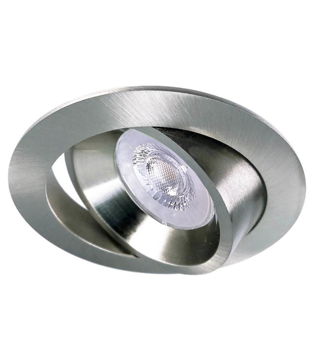 Luxna RVS Kleur LED inbouwspot BRUGGE 5W dimbaar, kantelbaar, warmwit licht.