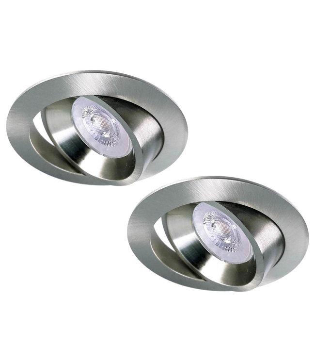 Luxna Set van 2 RVS LED inbouwspots BRUGGE 5W dimbaar, kantelbaar, warmwit licht.
