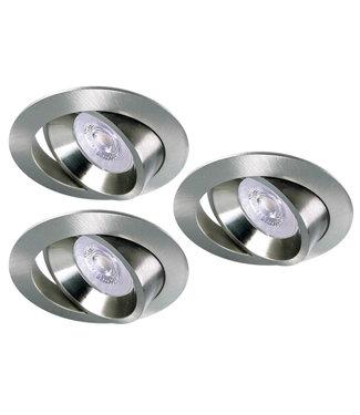 Luxna Set van 3 RVS LED inbouwspots BRUGGE 5W dimbaar, kantelbaar, warmwit licht.