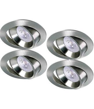 Luxna Set van 4 RVS LED inbouwspots BRUGGE 5W dimbaar, kantelbaar, warmwit licht.