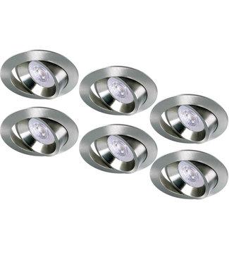 Luxna Set van 6 RVS LED inbouwspots BRUGGE 5W dimbaar, kantelbaar, warmwit licht.