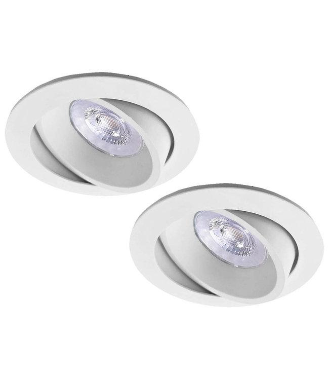 Luxna Set van 2 witte LED inbouwspots BRUGGE 5W dimbaar, kantelbaar, warmwit licht.