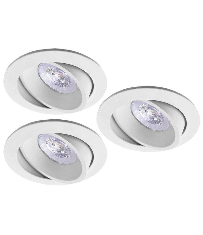 Luxna Set van 3 witte LED inbouwspots BRUGGE 5W dimbaar, kantelbaar, warmwit licht.