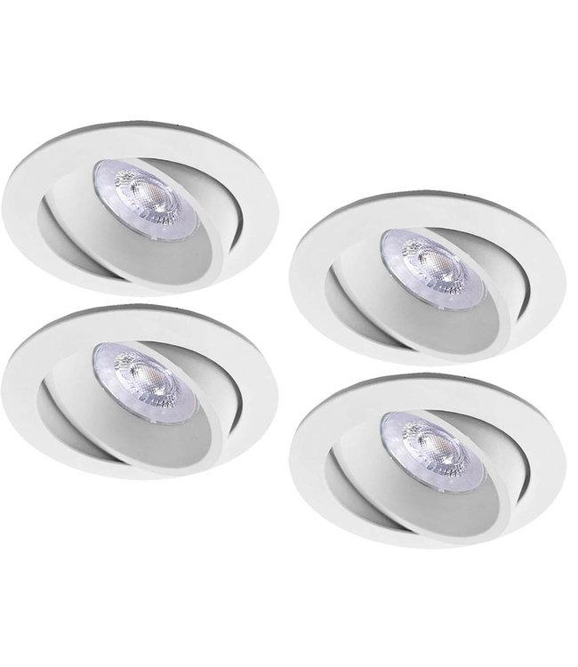 Luxna Set van 4 witte LED inbouwspots BRUGGE 5W dimbaar, kantelbaar, warmwit licht.