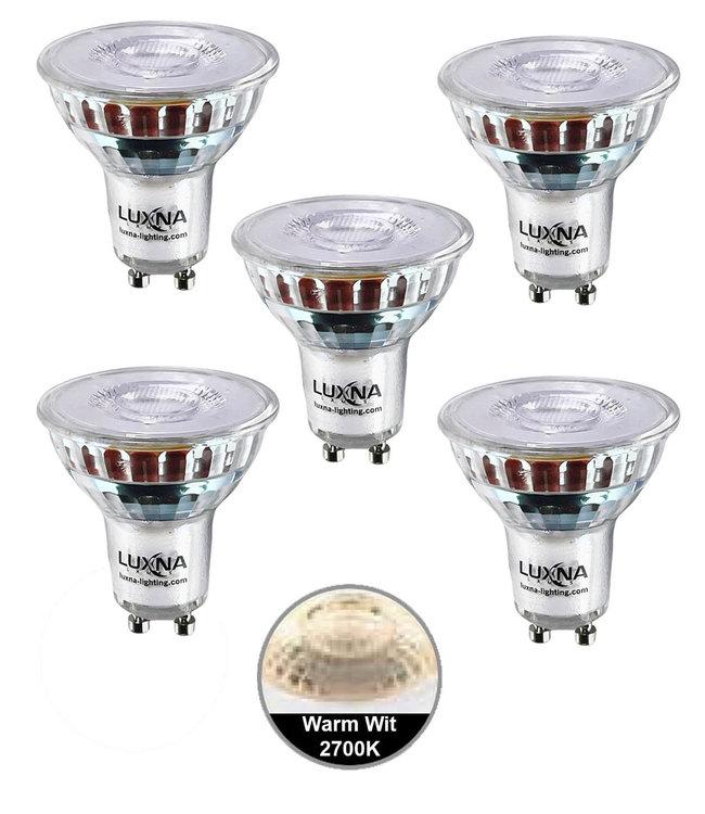 Luxna Pak van 5 stuks LED spot 5W, GU10, Dimbaar, Warm Wit