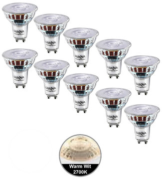 Luxna Pak van 10 stuks LED spot 5W, GU10, Dimbaar, Warm Wit