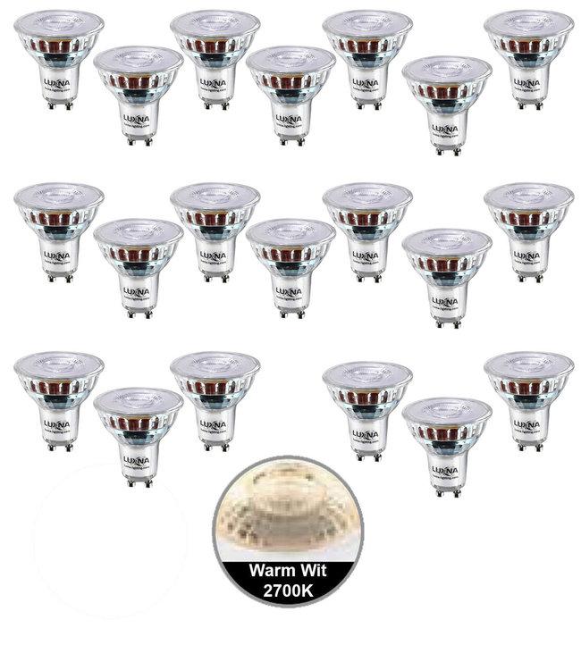 Luxna Pak van 20 stuks LED spot 5W, GU10, Dimbaar, Warm Wit