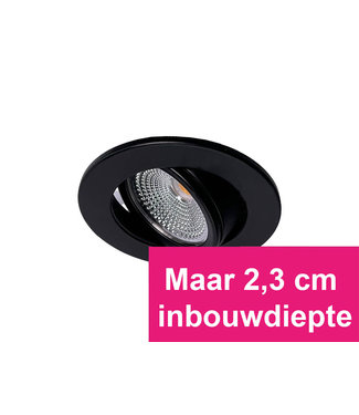 Zwarte MINI Inbouw Ledspot Oslo Star, 3 Watt, Dimbaar Warm Wit IP44