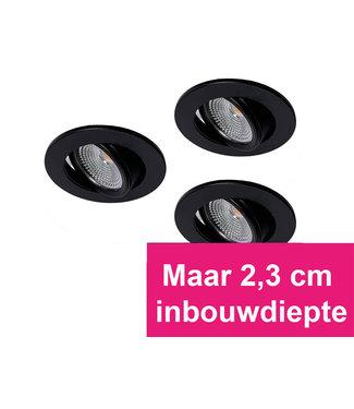 Set van 3 Zwarte MINI Inbouw Ledspots Oslo Star, 3 Watt, Dimbaar Warm Wit IP44