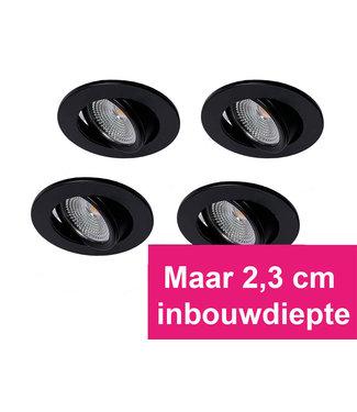 Set van 4 Zwarte MINI Inbouw Ledspots Oslo Star, 3 Watt, Dimbaar Warm Wit IP44
