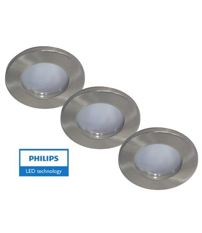Philips Set van 3 stuks badkamer inbouwLEDspot 12V 3W arm+spot (IP65)