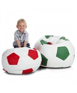 Voetbal zitzak S leatherlook Ø 55cm rood/wit