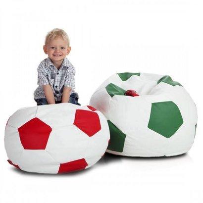 Bomba Voetbal zitzak M leatherlook Ø 65cm rood/wit