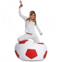 Bomba Voetbal zitzak leatherlook Ø 90cm wit/rood