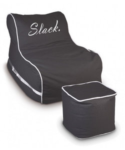 Slack outdoor zitzak lounger met hocker taupe