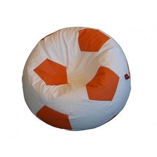 Voetbal zitzak leatherlook Ø 90cm wit/oranje