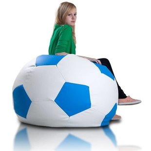 Voetbal zitzak leatherlook Ø 90cm wit/blauw