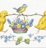 Molly Brett, Two Ducklings and Blue Tit with Basket of Flowers PCE 129