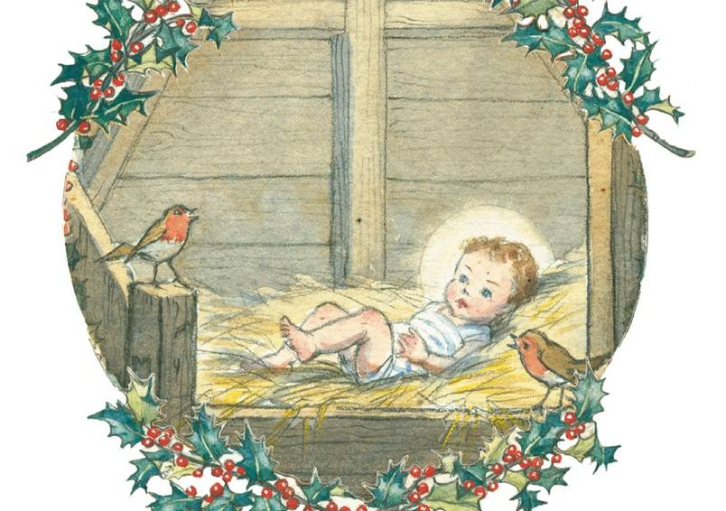 Molly Brett, Two Robins look over The Baby Jesus PCE 081