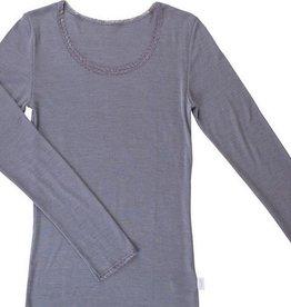 JOHA Joha Dames blouse Victoria wol/zijde lange mouw Grijs melange 12244-195