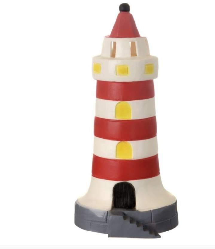 Vuurtoren lamp rood-wit 35 cm hoog