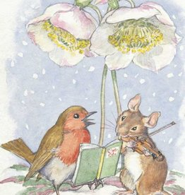 Medici Molly Brett, Robin and mouse under Christmas rose PCE 141
