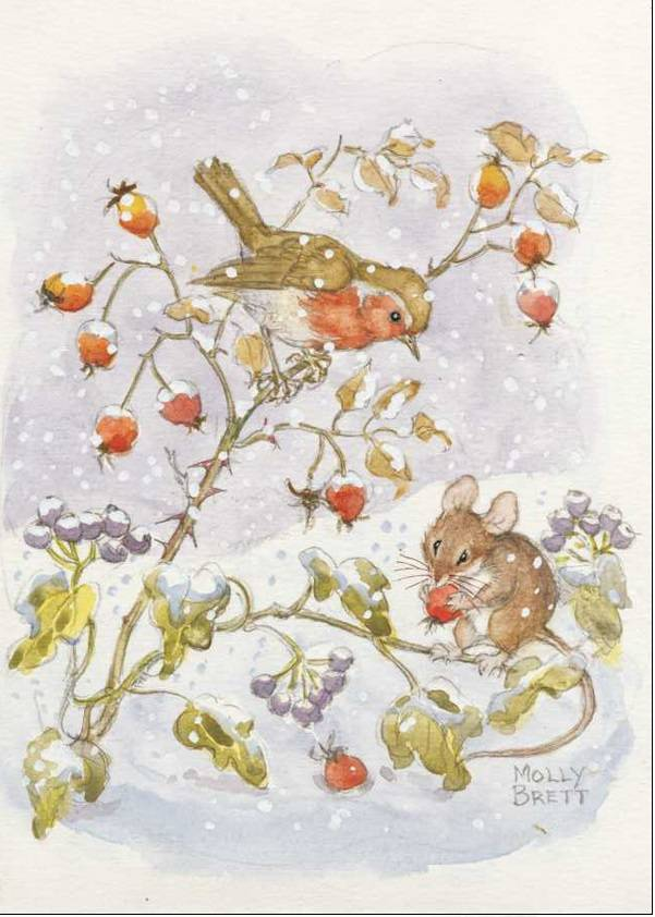 Medici Molly Brett, Robin and mouse, with reships and ivy in the snow PCE 142