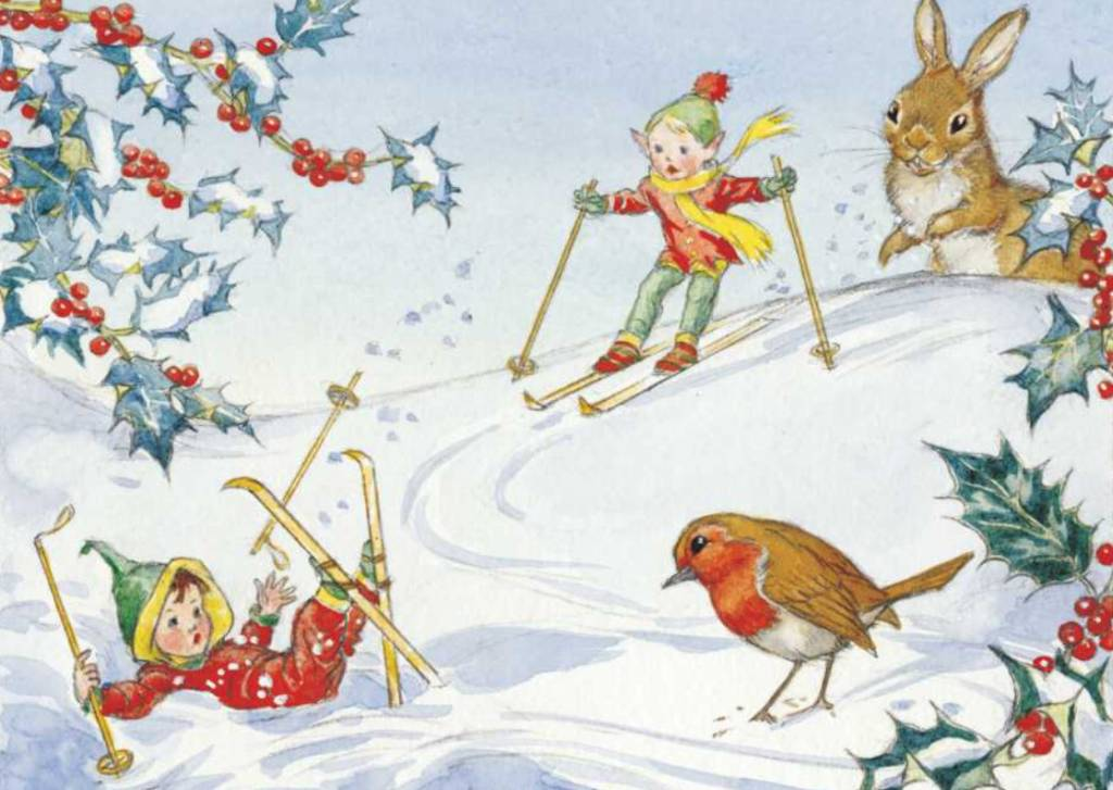 Medici Molly Brett, Two pixies skiing and robin and rabbit looking on PCE 152