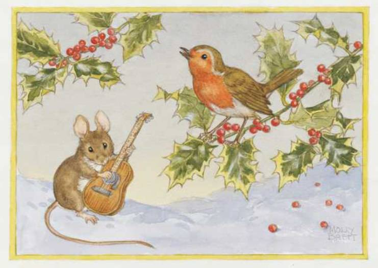 Medici Molly Brett, Mouse with guitar and robin on holly PCE 154