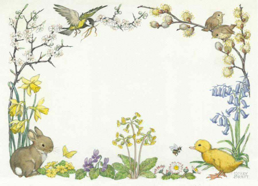 Medici Molly Brett, Border Design with rabbit, duckling and birds  PCE 223