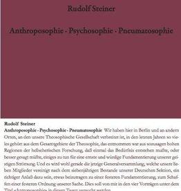 Rudolf Steiner, GA 115 Anthroposophie - Psychosophie - Pneumatosophie